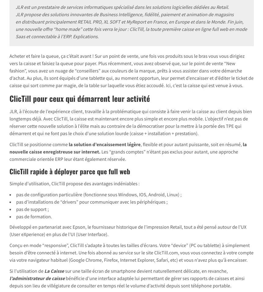 Article de presse - Clictill logiciel de caisse